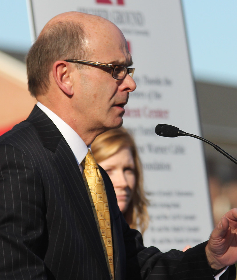 Gardner-Webb University president Frank Bonner addresses the crowd at the groundbreaking ceremony for the new Tucker Student Center on November 11th, 2010.