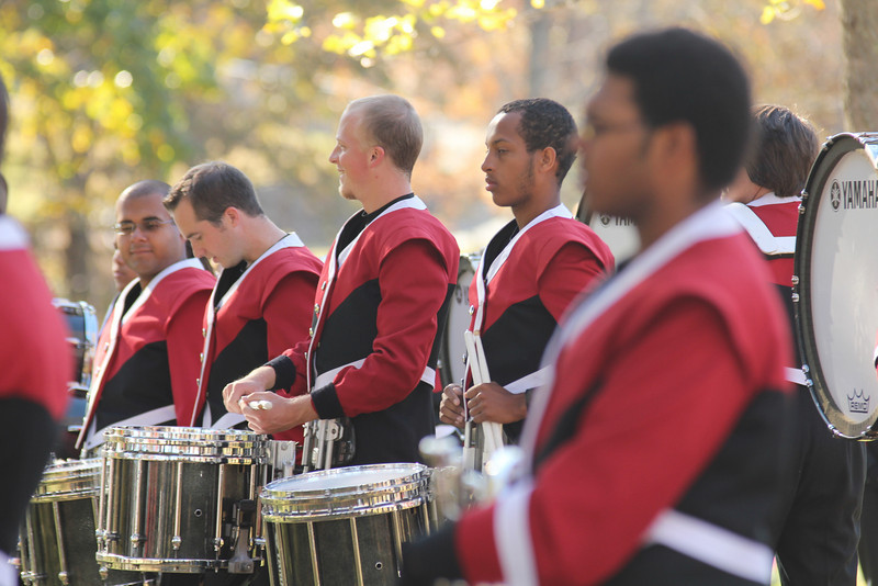 GWU Marching Band members watch the groundbreaking ceremony for the new Tucker Student Center on November 11th, 2010.