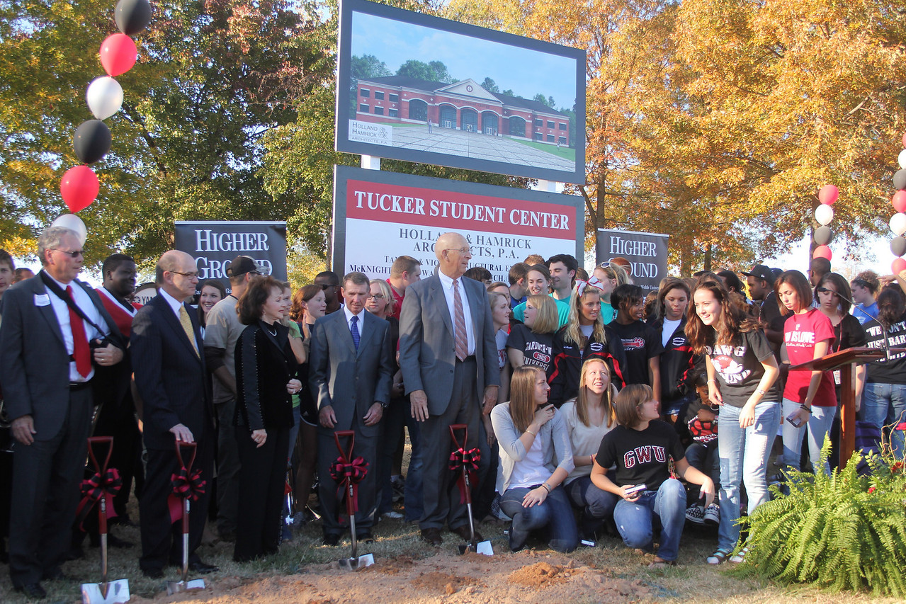 Following the groundbreaking for the new Tucker Student Center gardner-Webb students, faculty and staff joined for a commemorative photo.