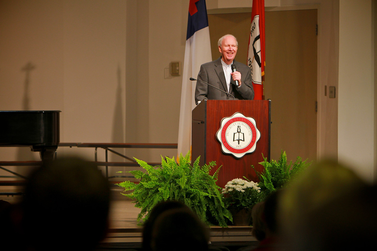 Higher Ground Campaign Kick-off; November 11, 2010. Dr. Chuck Wall, Founder and President of KINDNESS USA speaking in Blanton Auditorium.