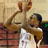 Short range: Rose Hulman's #31, Julian Strickland looks to shoot against Millikin Sunday evening during first half action.