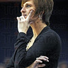 Hmmmmm: Indiana State University women's basketball coach Teri Moren watches her players during game action Sunday.