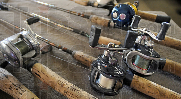 Detail: Detail photo of several of Dave Watson's rod and reel setups.