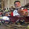 Bassmaster: Dave Watson works with some of his tackle Sunday afternoon as he prepares for the 2011 Bassmaster's Tournament.