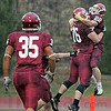 Celebration: Rose-Hulman's #76, Ryan Hayes catches #22, Kyle Kovach after he scores a touchdown during game action against Earlham College Saturday afternoon at Cook Stadium.