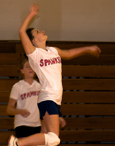 Intramural volleyball players fight for the victory the evening of November 8th