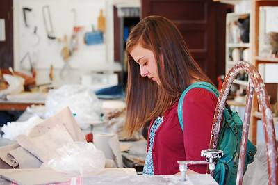 Katie Grace Kibler begins work on art Project, Photo by Amanda Smith