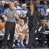 "Say what?: Indiana State coach Teri Moren puts ""the evil eye"" on an official during game action Friday evening against Furman."