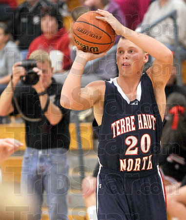 """Three ball: North's #20, Logan Shipley starts the Jamboree with a """"three"""" to score the opening points of the  night."""