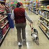 Doggie treat:  Rebecca Reinhart walks her two Rat Terriers through the food isles at Pet Smart Friday afternoon as her husband shops next door at Best Buy.