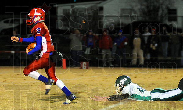 Complete: Linton wide reciever Cole Bradbury breaks free from Perry Central's Blake Crockett for a touchdown.