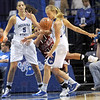 Nose for the ball: Indiana State's #20, Moriah Hodge defends a Bellarmine player and steals the ball during game action Friday night. ISU's ?#5, Shannon Thomas watches from behind.