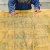 US 40: Wabash Avenue runs toward Jim Canary, parallel with railroad switching yards, in this cloth-backed paper map.