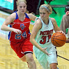 Coming in: Owen Valley's Savannah Owens(24) tries to keep up with Terre Haute North Patriot Morgan Stewart(31) in their game Saturday night.