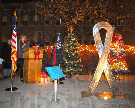 Added support: Mary Tremmel of Mothers Against Drunk Driving speaks at the candlelight vigil Saturday evening. MADD and Compassionate Friends have joined in the annual event that includes remembering missing persons and victims of domestic violence a as well as honors members of the military.