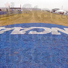 Ready to go: The NCAA logo in white on blue has been painted on the straightaway at the LaVern Gibson cross country course in preparation of Monday's national championship races.