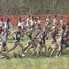 NCAA cross country championships were held Monday afternoon at the LaVern Gibson course in Terre Haute Indiana. Men enter and exit the 180 degree turn in Loop 1 in the first lap of their race.