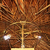 Inside story: Thee patient work of builders is shown off in this interior view of the underside of the roof of Kathyrn and Courtney Crandells round barn south of Riley in Vigo County.