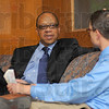 Interview: Washington Post reporter and Pulitzer prize winner Eugene Robinson is interviewed by Trever Ferenbach for the Indiana Statesman Wednesday evening. Robinson was on campus as part of the universities' Speaker Series.
