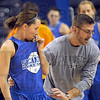 Point guard: Indiana State University assistant coach Clint Weddle works with point guard Taylor Whitley during Wednesday's practice at Hulman Center.