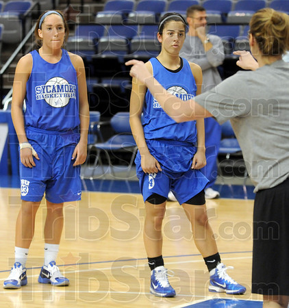 One...two: Indiana State University basketball players Taylor Whitley (L) and Illysa Vivo will share playing-time at the point guard position this season.