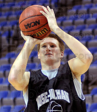 First year: RHIT freshman Jon Gerken shoots during practice at Hulman Center Monday evening.