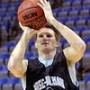 First year: RHIT freshman Jon Gerken shoots during practice at Hulman Center Monday evening.