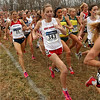 First turn: The women begin the righthand turn after nearly a kilometer straightaway at the beginning of their race Monday.