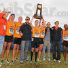 Oh! State: Oklahoma State cross country runners hoist their national championship trophy. The runners include: German Fernandez(455), Johnathan Stublaski(465), Colby Lowe(457). Tom Farrell(454) and JosephManilafasha(458).