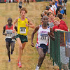 Leaders of the pack: Samuel Chelanga of Liberty University, Oregon's Luke Puskedra and Stephen Sambu of Arizona lead the other runners down a hill at the LaVern Gibson course Monday afternoon. Chelanga won the men's race with Sambu second and Puskedra third.