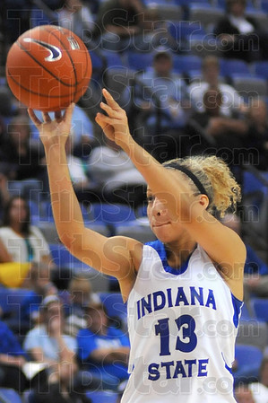 Three: Deja Mattox launches one of her three pointers in first half action Monday night in the Hulman Center.
