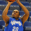 Making perfect: ISU guard Dwayne Lathan takes practice shots at in warming up for Tuesday's practice session in Hulman Center.
