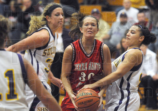 Stopper: South's #30, Emily Bell has her shot attempt stopped by a Sullivan defender Tuesday night.