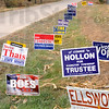 Signs of the time: Candidate election signs line the entrance to the Sullivan County fairgrounds Tuesday afternoon.