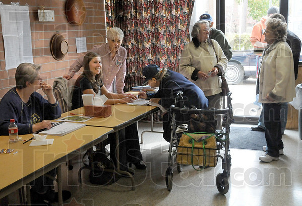 Steady: Sullivan County voters sign in at the Hamilton two precinct Tuesday afternoon.