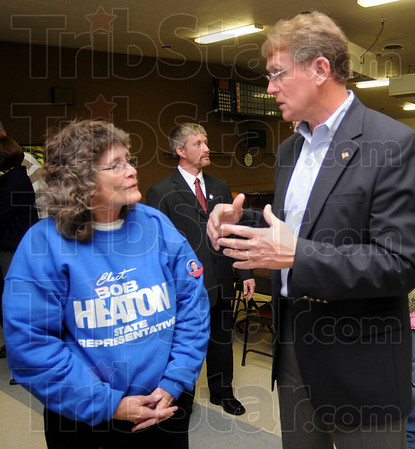 Strong support: Nina Morris talks with Bob Heaton late Tuesday eveing after Heaton defeated Bianca Gambill for the District 46 seat in the Indiana House. Morris worked on Heatons' campaign. In the background is Bill Webster who was defeated by Democrat Tim Skinner in his bid for a seat in the Senate