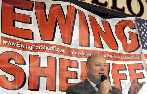 Winner: Greg Ewing thanks his supporters at the Grotto Tuesday night after winning the Vigo County Sheriff's race.