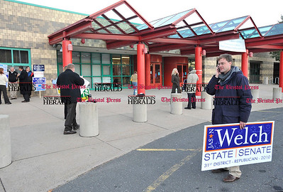 11/2/2010 Mike Orazzi | Staff 31st District Republican candidate Jason Welch outside Chippens Hill Middle School on Tuesday evening.