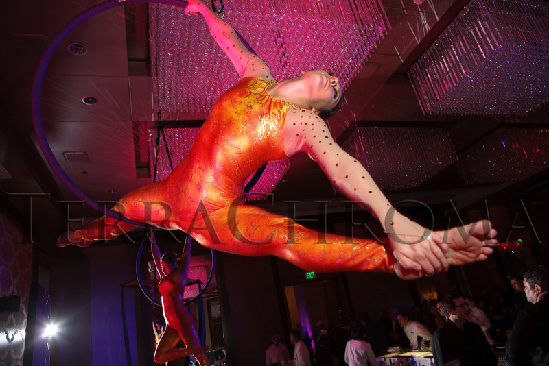 "(Denver, Colorado, Nov. 6, 2010)<br /> Performers from Aircat Aerial Arts.  Four Seasons Hotel Denver hosts its grand opening party, themed ""Four Seasons Embraces Colorado,"" benefiting The Denver Center for Performing Arts, The Denver Zoo, The Kempe Foundation, and The University of Colorado Hospital Foundation, at the Four Seasons Hotel Denver in Denver, Colorado, on Saturday, Nov. 6, 2010.<br /> STEVE PETERSON"