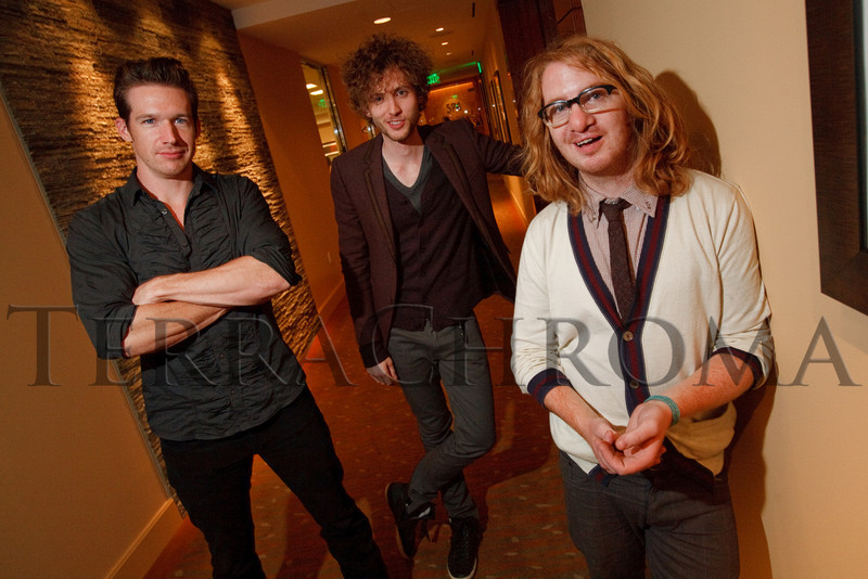 "(Denver, Colorado, Nov. 6, 2010)<br /> Three of the band members of OneRepublic:  Zach Filkins, Brent Kutzle, and Drew Brown.  Four Seasons Hotel Denver hosts its grand opening party, themed ""Four Seasons Embraces Colorado,"" benefiting The Denver Center for Performing Arts, The Denver Zoo, The Kempe Foundation, and The University of Colorado Hospital Foundation, at the Four Seasons Hotel Denver in Denver, Colorado, on Saturday, Nov. 6, 2010.<br /> STEVE PETERSON"