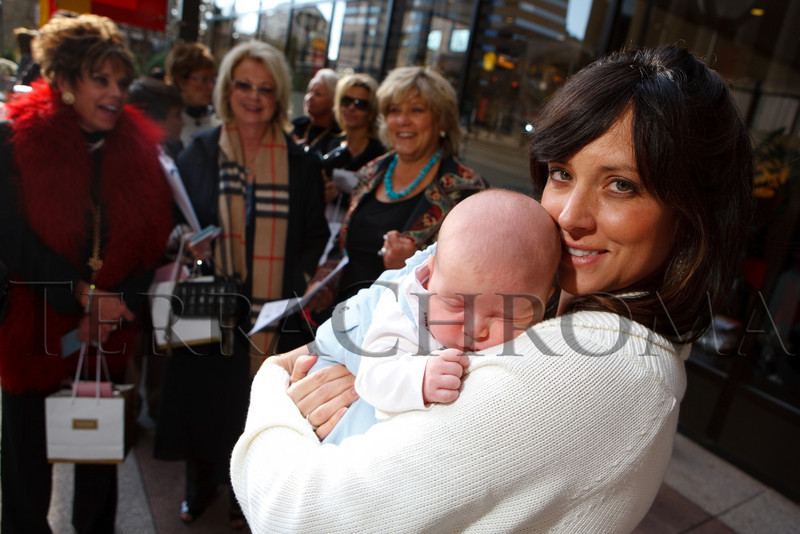 (Denver, Colorado, Nov. 10, 2010)<br /> Walker Corson (8 weeks) with his mother, Erinn.  In background are Debi Medved, Kristina Davidson, and Adrienne Ruston Fitzgibbons (mother of Erinn).  The 2010 Brass Ring Luncheon and Fashion Show, hosted by the The Guild of The Children's Diabetes Foundation at Denver, at the Denver Marriott City Center in Denver, Colorado, on Wednesday, Nov. 10, 2010.<br /> STEVE PETERSON