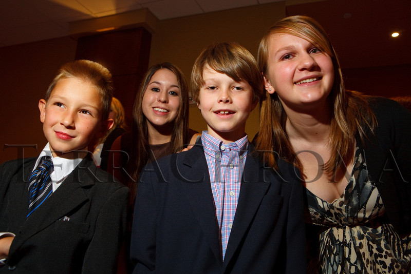 """(Denver, Colorado, Nov. 10, 2010)<br /> Children who participated in the """"I Have a Dream"""" segment of the program:  Trey Lipsoc?, Lyndsey Trujillo, Harrison Fuller, and Monica Lanning.  The 2010 Brass Ring Luncheon and Fashion Show, hosted by the The Guild of The Children's Diabetes Foundation at Denver, at the Denver Marriott City Center in Denver, Colorado, on Wednesday, Nov. 10, 2010.<br /> STEVE PETERSON"""