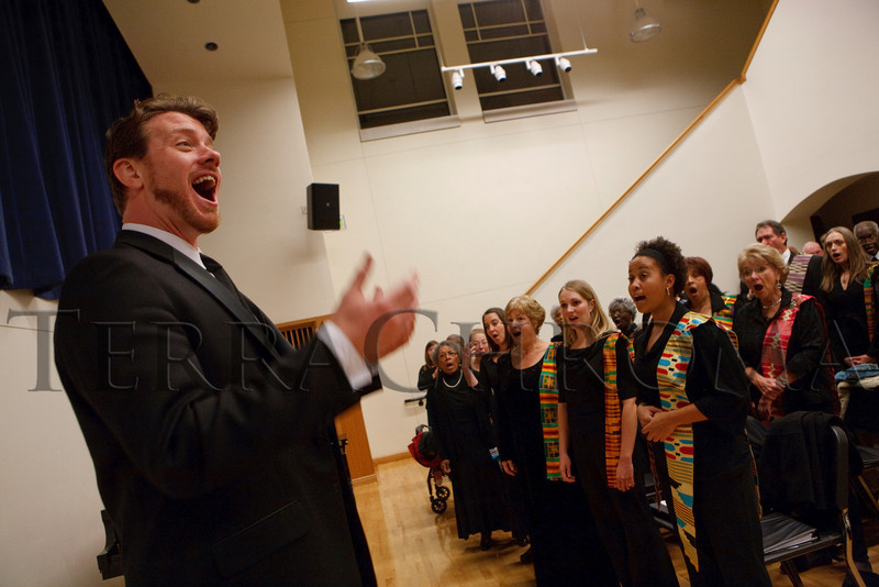(Denver, Colorado, Nov. 20, 2010)<br /> John Hubert (SP choir director) leads warmups.  The Spirituals Project concert at the Newman Center for the Performing Arts in Denver, Colorado, on Saturday, Nov. 20, 2010.<br /> STEVE PETERSON