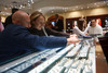 (Centennial, Colorado, Nov. 27, 2010)<br /> Michael Williams and Ashley Borden shop for an engagement ring.  Grand opening of Trice Jewelers at The Streets at SouthGlenn in Centennial, Colorado, on Saturday, Nov. 27, 2010.<br /> STEVE PETERSON