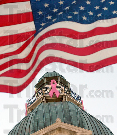 Ribbon: A pink ribbon adorns the Vigo County Courthouse just prior to the lighting ceremony Thursday evening.