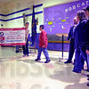Honored: Trenton Williams steps toward the banner Rio Grande Elementary School recived to honor him as a Riley Champion.