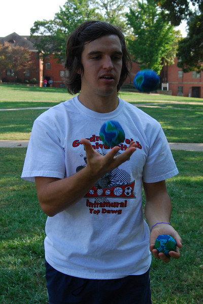 Taylor Doolittle shows off his juggling skills on the quad.