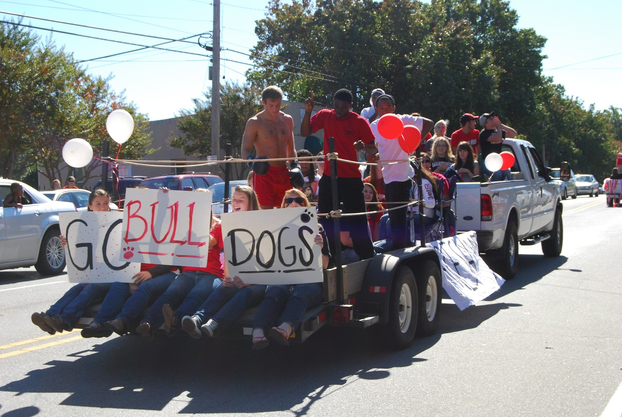 Students, cheerlearders, and the marching band made their way down Main Street for the annual homecoming parade.