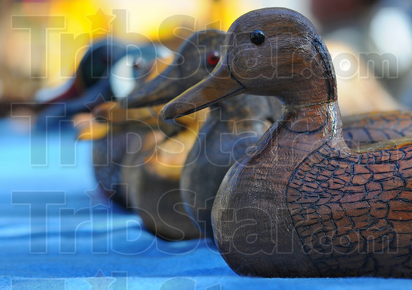 On display: Wood duck decoys by wood carver Jim Payne were one of the attractions at the Old Fashioned Days and Art Too at Collett Park Sunday afternoon.