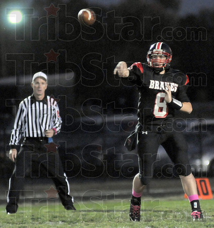 Throw: South's #8, Danny Etling throws for a big gain during second quarter action against Lawrence North Friday evening.